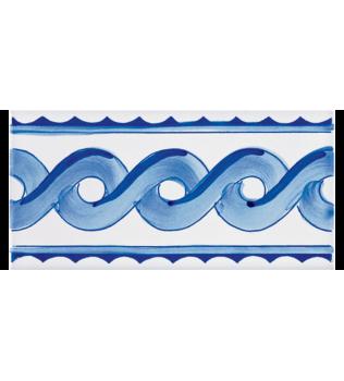 Listello Vietrese 10x20 decoro Ondina Blu