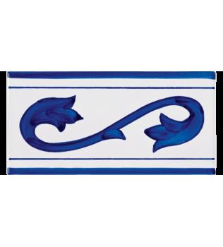 Listello Vietrese 10x20 decoro Normanno Blu