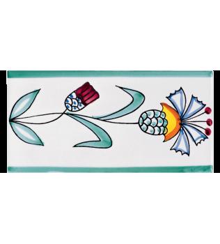 Listello Vietrese 10x20 decoro Fiore stilizzato