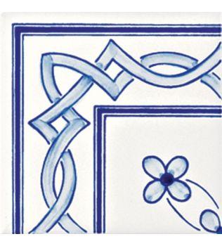Piastrelle 10x10 decoro Milena azzurro angolo