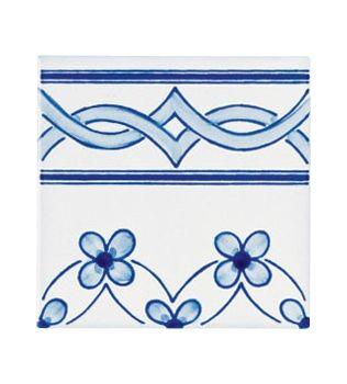 Piastrelle 10x10 decoro Milena azzurro terminale