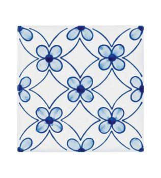 Piastrelle 10x10 decoro Milena azzurro