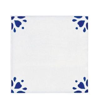 Piastrelle 10x10 decoro Angoli rosetta blu