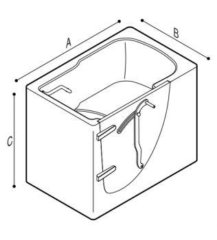 VASCA da bagno con porta apertura esterna