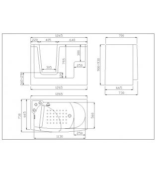 Disabili VASCA da bagno con porta apertura esterna
