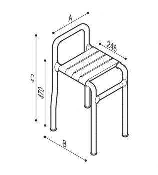 DISABILI Sgabello con seduta in doghe di nylon