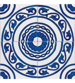 Piastrella 20x20 decoro VITULA Blu  G.De Maio