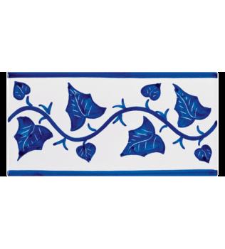 Listello Vietrese 10x20 decoro Edera Blu