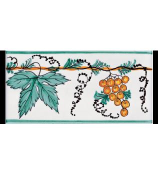 Listello Vietrese 10x20 decoro Tralcio di Uva