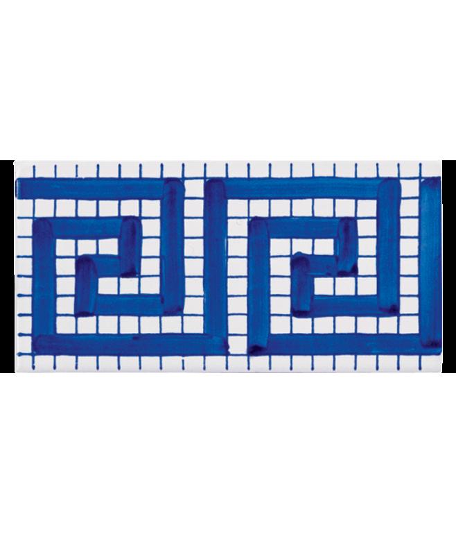 Listello Vietrese 10x20 decoro Greca Blu