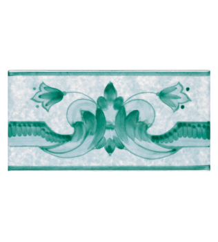 Listello Vietrese 10x20 decoro Casamicciola Verde Rame