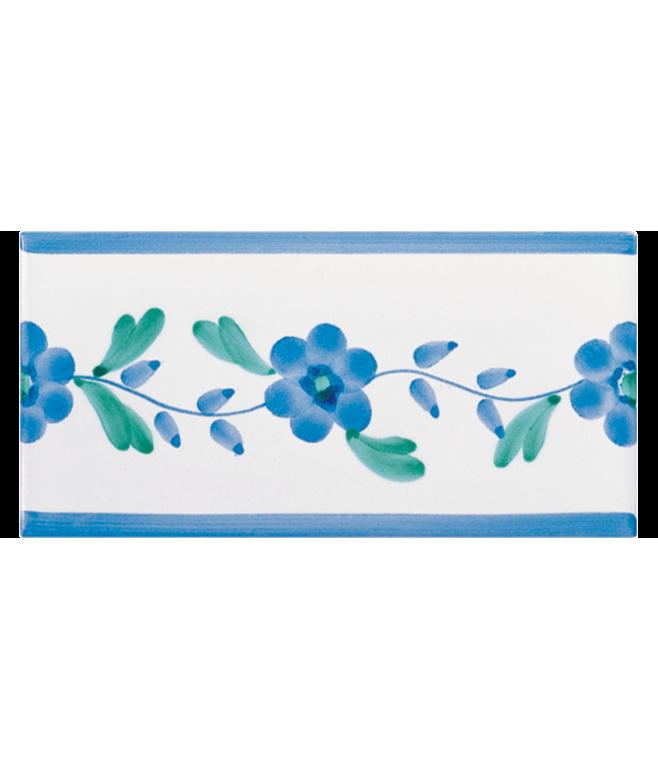 Listello Vietrese 10x20 decoro Garofoni Azzurro