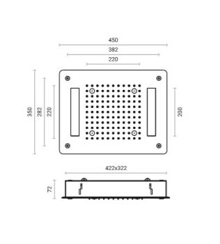 Soffione doccia 2 getti cm 35x45  RGB