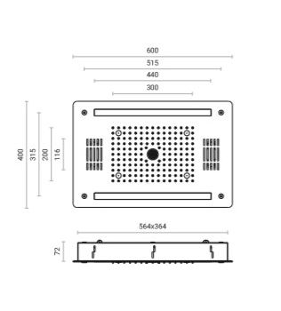 Soffione doccia 3 getti cm.40x60  RGB