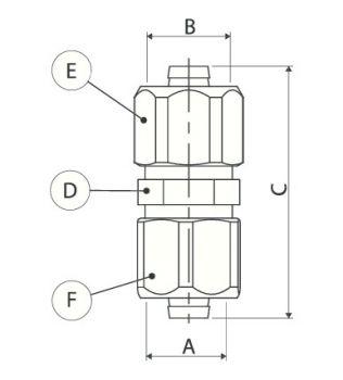 Raccordo dirittto doppio per tubo multistrato a compressione