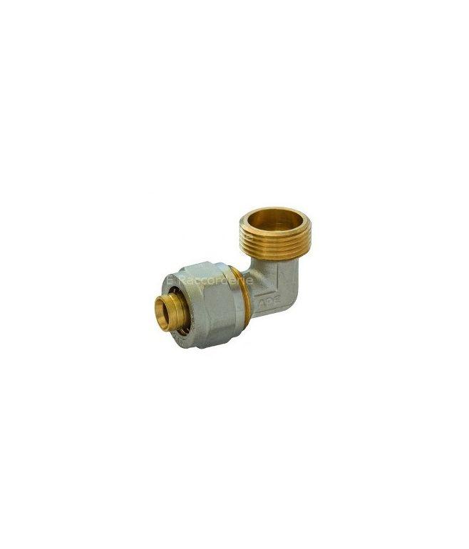 Raccordo curvo doppio per tubo multistrato a compressione
