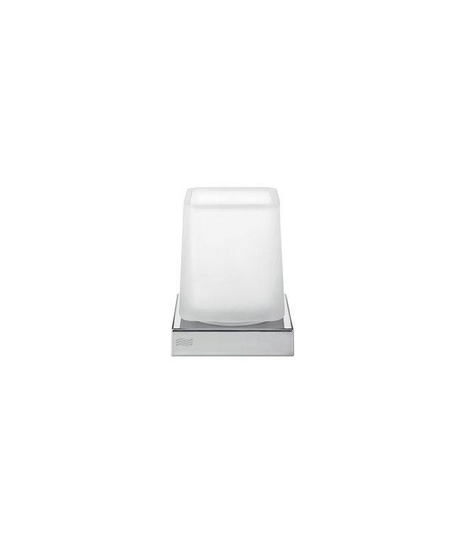 DIVO Porta spazzolini da appoggio o a parete, contenitore in vetro Opalino o Trasparente