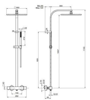 Colonna doccia con miscelatore doccia termostatico Cromo FIMA