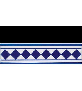 Listello 5x20 Conti Blu decorato a mano G.De Maio