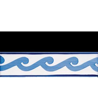 Listello 5x20 Effie azzurro decorato a mano G.De Maio