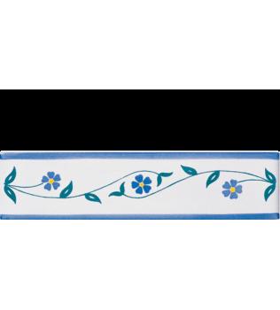 Listello 5x20 Emma azzurro decorato a mano G.De Maio