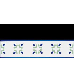 Listello 5x20 Gocce blu decorato a mano G.De Maio