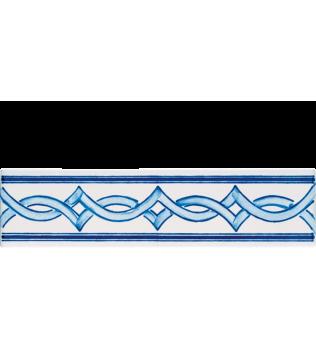 Listello 5x20 Milena Azzurro decorato a mano G.De Maio