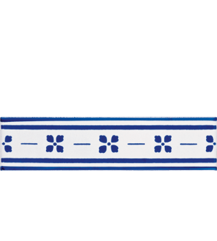 Listello 5x20 Palmettina Blu decorato a mano G.De Maio