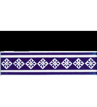 Listello 5x20 San Rocco blu decorato a mano G.De Maio